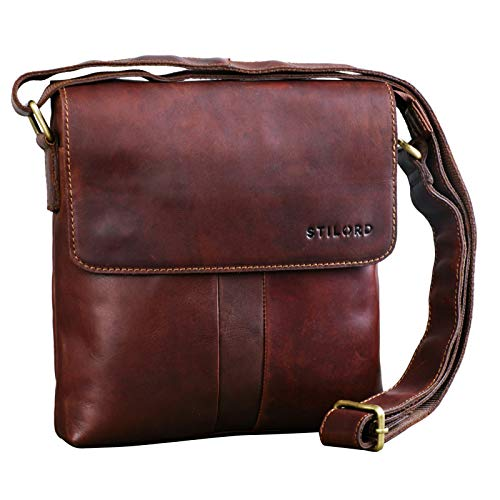 STILORD 'Lian' Borsa Tracolla in Pelle Uomo Piccola Borsello Vintage Dimensione Media per Tablet da 10,1 Pollici Marrone, Colore:cognac marrone scuro