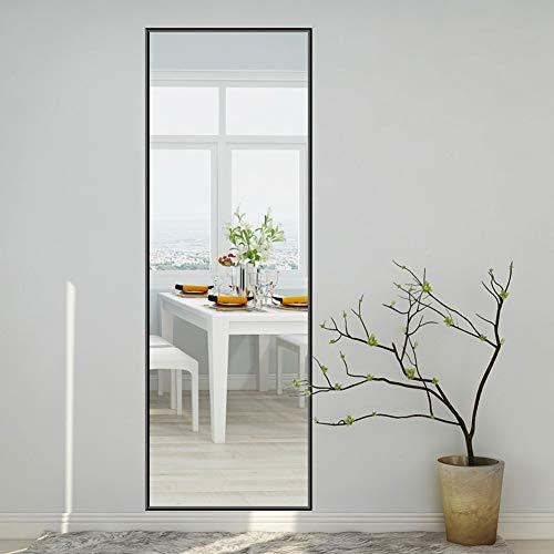 FENGMI Espejo vestidor de Pared de Aluminio Dormitorio Muro Simple Espejo de Cuerpo Entero HD Espejo a Prueba de explosiones (Color : Negro, Size : 33 * 130 cm)