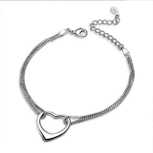N/A Joyas de Pulsera Moda Romántica Amor Corazón Pulseras de Doble Cadena Brazaletes de Compromiso de Boda para Novia GIF Regalo de cumpleaños de San Valentín