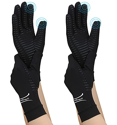 2 Pairs Arthritis Gloves, Copper Compression Full Finger Arthritis Gloves for Men & Women, Touch...