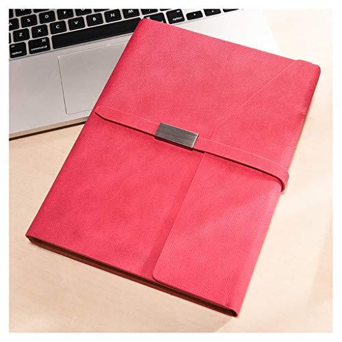 Cuadernos Libreta PU Diario A5 encuadernación portátil Recargable 6 Ronda Carpeta de Anillas Notebook Cover Planificador Personal Carpeta con la Hebilla Blocs de Notas y Diarios (Color : Red)