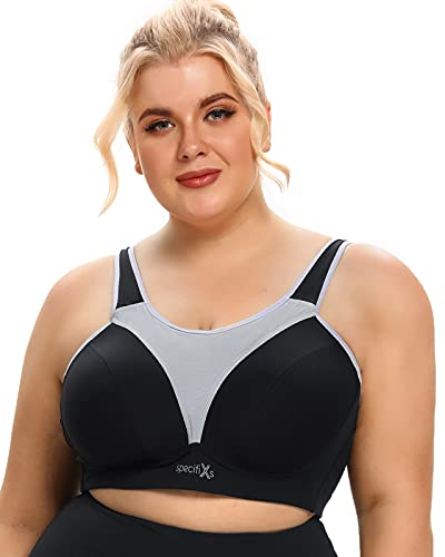 Sports Bras for Women Plus Size High Impact Full Coverage All-Round Support for Running Black