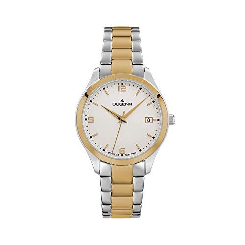 DUGENA Reloj de pulsera para mujer Tresor Woman, cuarzo, esfera bicolor, caja de acero inoxidable, cristal de zafiro, correa de acero inoxidable, cierre desplegable, 10 bar