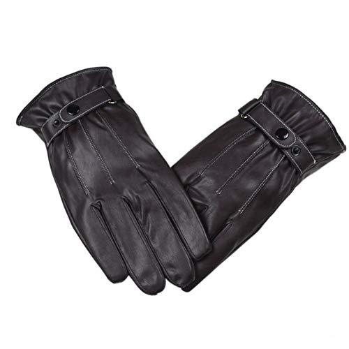 JFASJ Handschuhe Mode Lederhandschuhe für Männer Herbst Winter Cuteglove Warm Mens Luxuriöse braune Lederhandschuhe Fahren warme Handschuhe