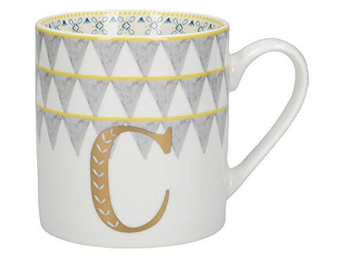 Creative Tops Alphabet Mug with Novelty 'C' Design, Fine China, Multi-Colour, 350 ml (3 of 26 Letter Mugs)