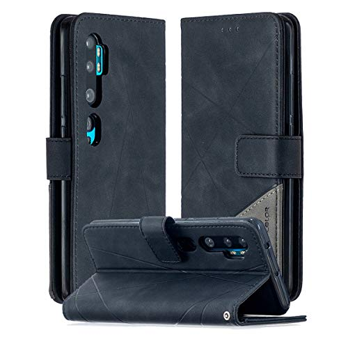 SHUNDA Capa para Xiaomi Mi CC9 Pro, capa flip magnética de couro com compartimento para cartão e suporte para Xiaomi Mi CC9 Pro - Preta