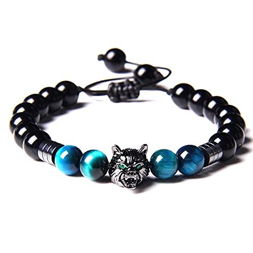 Lamazen - Pulsera ajustable de lobo para hombre con piedras naturales con ojo de tigre con enlace...