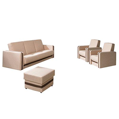 Mirjan24 Polstergarnitur Euforia Quadro 3+1+1 und Hocker, Sofa mit Bettkasten und Schlaffunktion, 2 Sessel, Bettsofa, Polstermöbel Bettfunktion Couch (Lux...