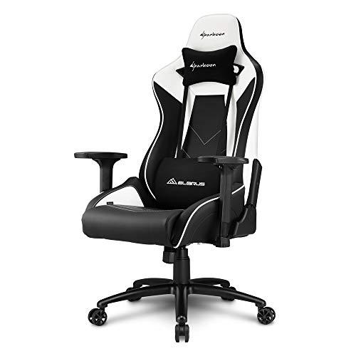 Sharkoon Elbrus 3 Premium Gaming Stuhl, mit Kunstlederbezug, Aluminiumfußkreuz, 3-Wege-Armlehnen, Stahlrahmen, Kopf- und Lendenkissen mit Stoffbezug