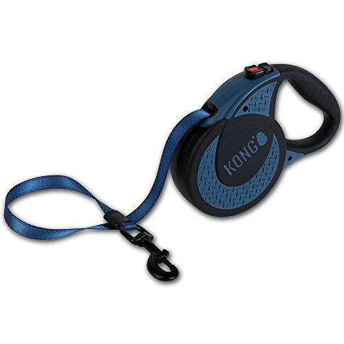 KONG Ultimate Hundeleine, einziehbar, extra groß, Blau, 5 m Klebeband