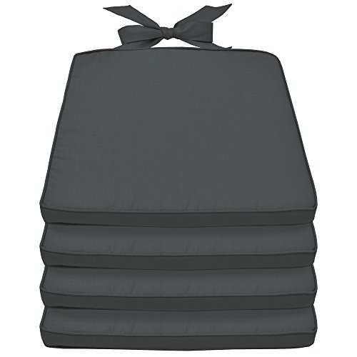 Beautissu Lot de 4 Galettes de Chaise Pia - Coussin Confortable coloré Idéal pour intérieur extérieur 45x40x5cm déhoussable Gris Graphite
