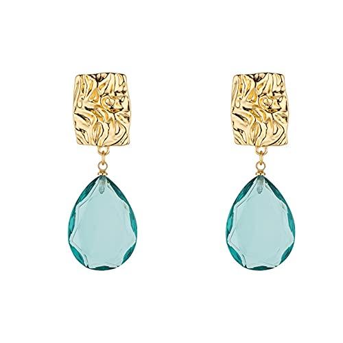 DFDLNL Pendiente cuelga Azul lágrima Gota Cristal Color Dorado Cuadrado Desigual Hecho a Mano Pendientes de botón Regalo para Mujeres niñas 2