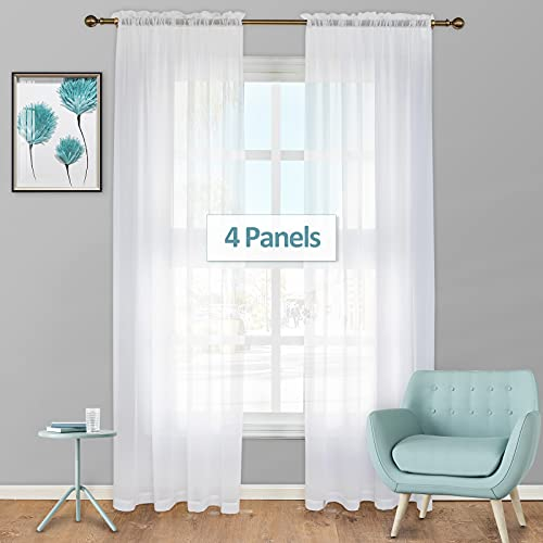 White Curtains 84 inches Long, Stiio 4 Panels Semi Sheer Curtains See Through Window Curtain with Rod Pocket, Solid Elegant Net Curtains Window Treatment for Girls Bedroom Décor, 52W x 84L