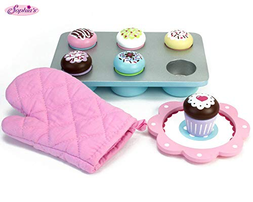 Childrens Wooden Play & Pretend Food Set, Making Cakes Set with Pot Holder, Tray, Cupcakes & More! Wood Play Food Making Cakes Set