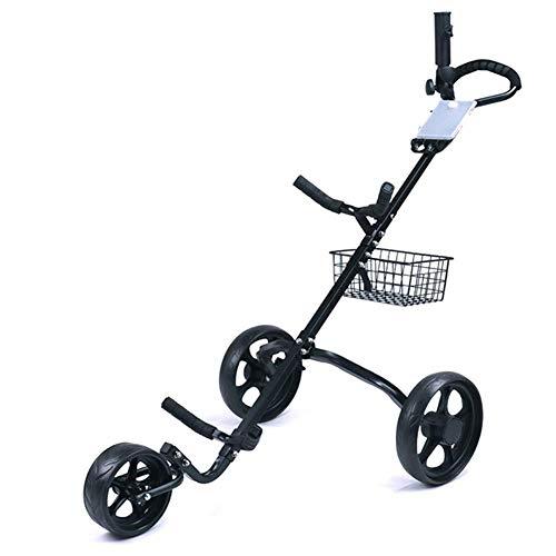 SYue Golf Trolley Faltbarer Golf Push Pull Cart mit Ablagekorb, Fußbremse Leichter Hand Push Cart