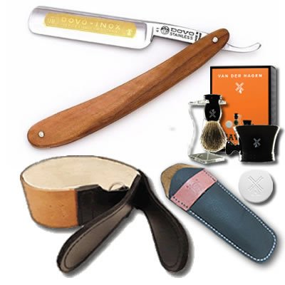 DOVO Olivewood Scales and Luxury Shave Set