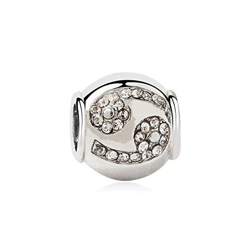 HAIXUE Aleación Original Bead Rose Oro Zodiaco Cumpleaños Charm Clear CZ Fit Dropship Pulsera Brazalete Collar DIY Joyería (Color : Cancer 2)