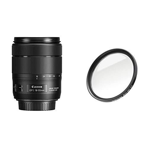 Canon Zoomobjektiv EF-S 18-135mm F3.5-5.6 is USM für EOS (67mm Filtergewinde, Autofokus, Bildstabilisator) schwarz & Walimex Pro UV-Filter Slim MC 67 mm (inkl. Schutzhülle)