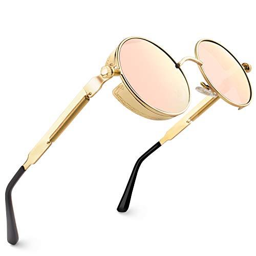 CGID Retro Sonnenbrille im Steampunk Stil, runder Metallrahmen, polarisiert, für Frauen und Männer, E72, A6 Gold Rosa, Einheitsgröße