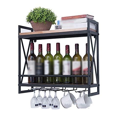 Estantes de vino Montado en la pared con 6 vidrio de tallo. Tenedor de vino de metal rústico de metal 2-niveles soporte de botella de montaje de pared Rack de vidrio para pared refrigerador Frigorífic