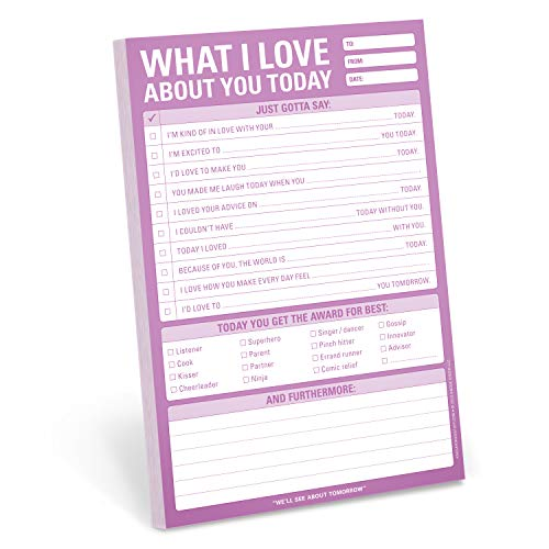 Knock Knock What I Love About You Checklist Note Pad, 6 x 9-inches