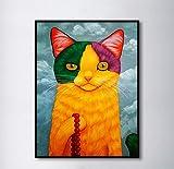 ganlanshu Pintura sin Marco Golden Cat Bead Decoration Painting Picture Canvas Mural Living Room Artist Home DecorationZGQ4327 60X90cm