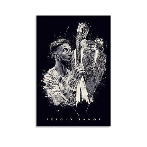 WERTQ Sergio Ramos - Póster de lienzo (60 x 90 cm)