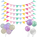 Vegena Ghirlanda di bandierine, 5 pezzi, 60 bandierine e 18 palloncini colorati, in finto lino, per compleanni, feste, matrimoni, Natale, decorazione per interni ed esterni