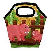 Heeh - Bolsa térmica para el almuerzo, diseño de cerdos, color rosa