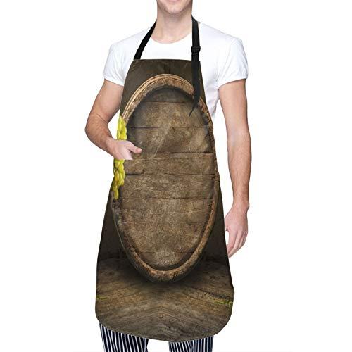 NOLOVVHA Ajustable Colgante de Cuello Personalizado Delantal Impermeable,Vino Blanco Con Barril,Babero de Cocina Vestido para Hombres Mujeres con 2 Bolsillos Centrales