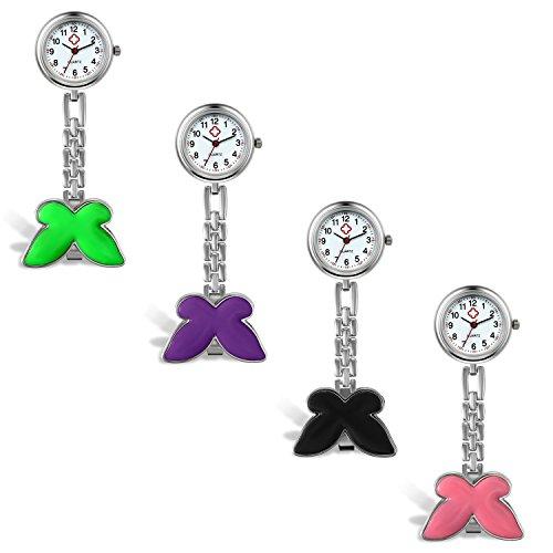 LANCARDO Krankenschwester Herren Damen Armbanduhr Analog mit Legierung Armband Schmetterling Design 4pcs