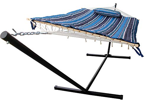 HENG FENG 2 Person Double Hammock with 12 Foot Portable Steel Stand and Spreader Bar, Detachable Pillow and Pad, Blue Stripe