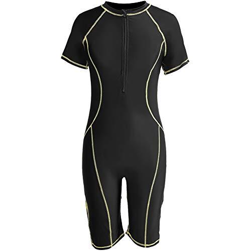Traje de Neopreno Mujer de Una Pieza,Traje de Buceo de Snorkel de Surf Traje de Baño de Manga Corta de Secado Rápido Shorty para Mujer,Negro(XXXL)