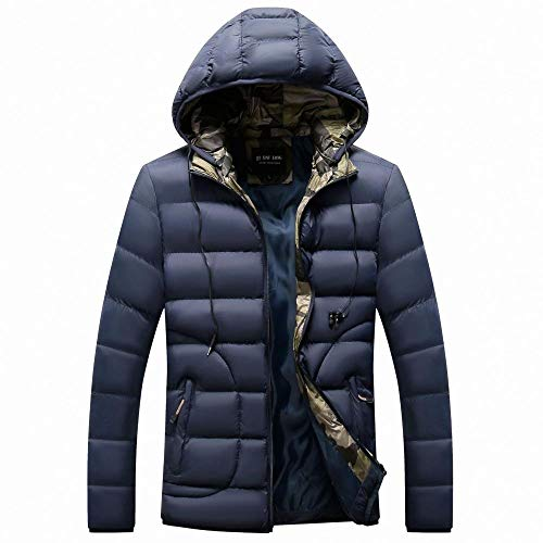 Mens Coats Thick Wool Coats Jacket Long Elegant Outwear Slim Fit Trench Coat Winter Hooded Cotton Jacket-Dark Blue_XXL