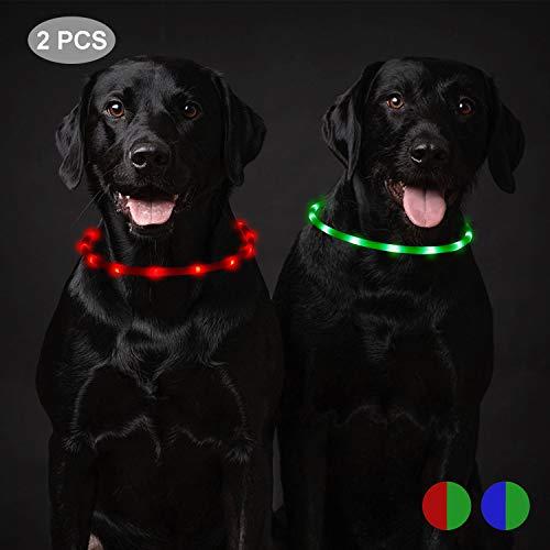 Toozey 2 Stücke LED Leuchthalsband Hund für 20 Stunden Dauerlicht Wasserdicht, USB Wiederaufladbar Schneidbar Nacht-Sicherheit Hundehalsband Leuchtband für Hunde und Katzen - 3 Modus(Grün und Rot)