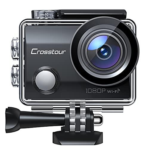 """Crosstour Action Cam, CT7000 Unterwasserkamera WiFi Full HD 14MP Helmkamera mit 2\"""" LCD 170° Weitwinkelobjektiv 2X1050mAh Akkus und Zubehör Kits"""