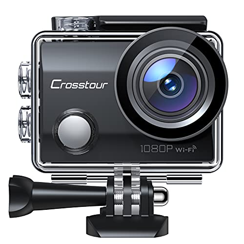 Crosstour Action Cam CT7000, WiFi Full HD da 14MP, Videocamera Subacquea Impermeabile 30M, Anti-Shake Stabilizzazione Schermo LCD Grandangolare 170°, 2 Batterie Ricaricabili 12 Accessori