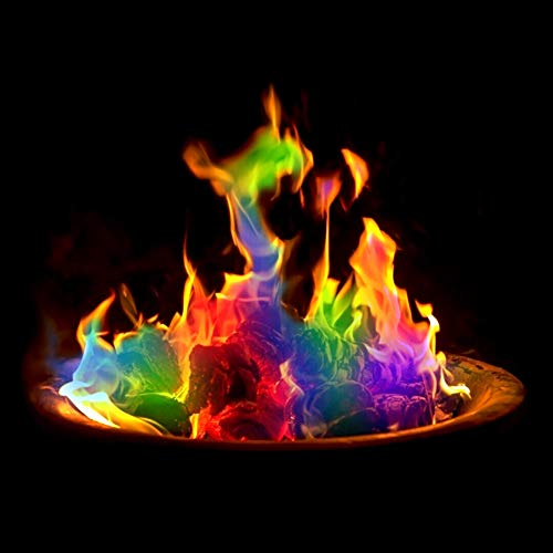 Urhause Farbiges Feuerpulver Magic Fire Salz Päckchen für buntes Feuer Flamme Färben Lagerfeuer Partyzubehör schafft lebendige buntes Feuer für Holzfeuer in Kamin oder Feuerschale