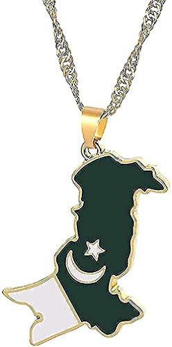 Collar para mujer Collar para hombre Collar con colgante Mapa de Pakistán y bandera Collar con colgante Color dorado Collar de cadena de esmalte de Pakistán para mujer Collar de joyería étnica de Paki