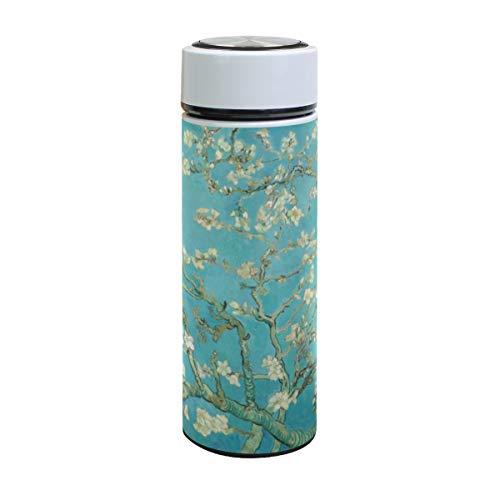 Botella de agua de acero inoxidable Emoya, 500 ml, Van Gogh Blossoming Almond Tree, botella de agua aislada al vacío, sin BPA, a prueba de fugas, doble pared, boca ancha para bebidas frías y calientes, 17 onzas
