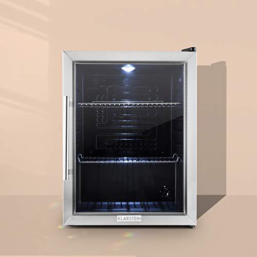 Klarstein Beersafe - Minibar, Mini-Kühlschrank, Getränkekühlschrank, leise, 42 dB, Edelstahl, Glastür, 5-stufiger Temperaturregler, 2 Einschübe, 60 Liter, Silber-schwarz