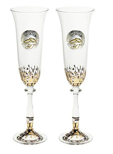 Copas 50 Aniversario Personalizadas decorado artesanal pintura Oro