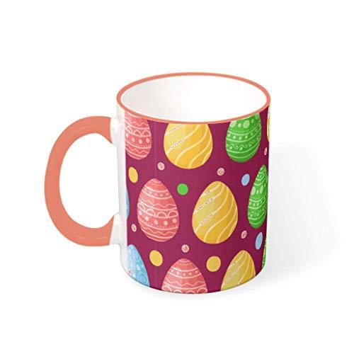 OwlOwlfan Taza de cerámica de color huevo de Pascua Tazas de café con asa para el hogar oficina para niños niñas caqui 330 ml
