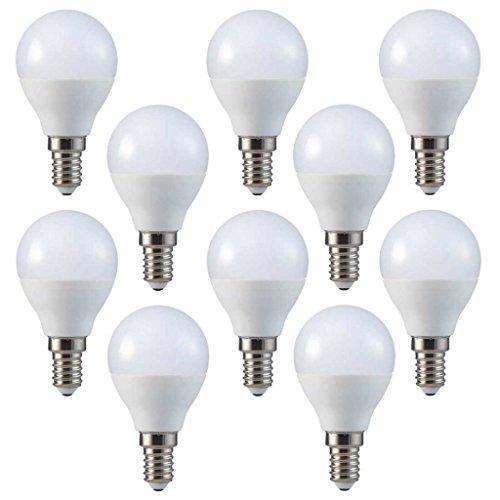 V-TAC, set da 10pezzi, lampadine a LED, E14, forma a pera, P45, angolo di diffusione 180°, Plastica, Warmweiss 2700k, E14, 3.00W, 230.00V