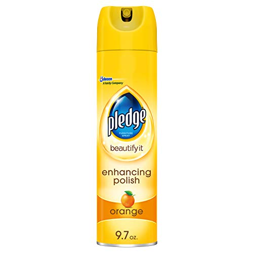Pledge Multisurface Furniture Polish Spray, Works on Wood, Granite, and Leather, Shines and Protects, Orange, 9.7 oz