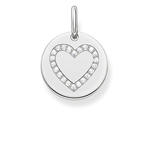 Thomas Sabo Damen-Anhänger Love Bridge Herz 925 Sterling Silber Zirkonia weiß 1.4 cm LBPE0005-051-14