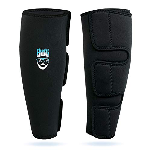 THEFITGUY Weightlifting Deadlift Shin Guards, EasyWear - No Need to Take Off Shoes, Wear Over Skin, Socks, Training Pants and Tights, Ultimate Shin Protection (Pair)