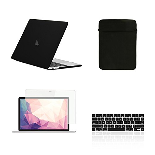 """TOP CASE MacBook Pro 13 inch Case 2019 2018 2017 2016 Release A2159 A1989 A1706 A1708, 4 in 1 Essential Rubberized Hard Case, Keyboard Cover, Screen Protector, Sleeve for MacBook Pro 13"""" - Matte Black"""