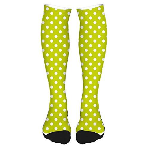Calcetines altos de algodn sobre la rodilla, con hojas abstractas y rizadas con detalles artsticos retro,calcetines largos hasta la rodilla para hombre y mujer