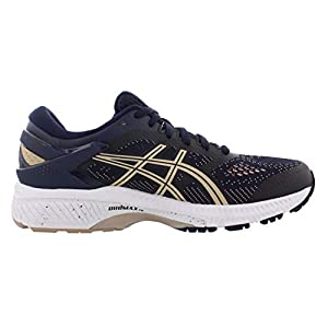ASICS Women's Gel-Kayano 26 Running Shoes, 8M, Midnight/Frosted Almond